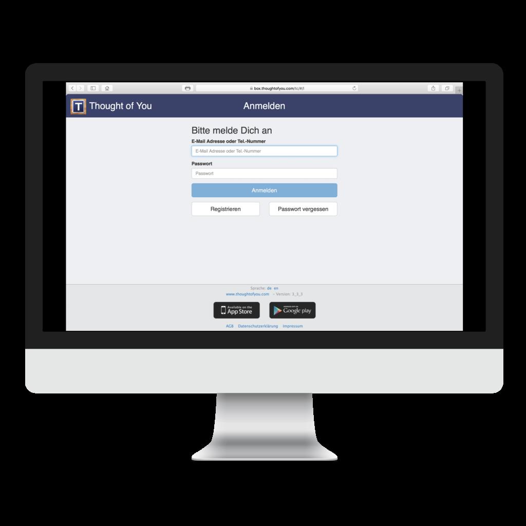 Der Anmeldebildschirm der Thought of You Web App
